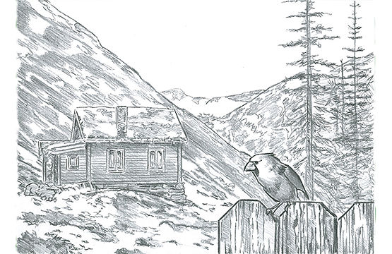 Mountain Cabin with Cardinal.jpg