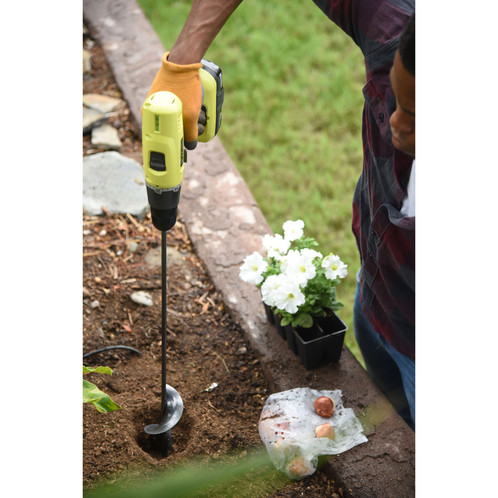 yard butler roto planter garden auger hole digger for electric drill bulb bit - Garden Auger