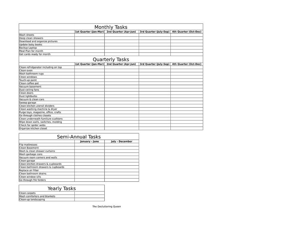Free Printable Cleaning Schedule for monthly, quarterly, and yearly tasks