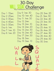 30 Day Wall Squat Challenge