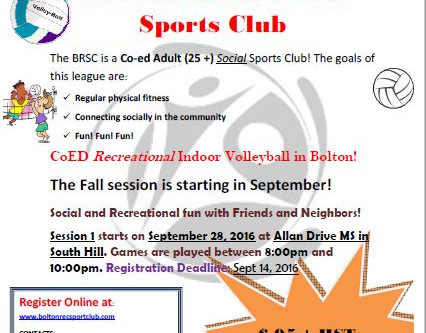 BRSC Volleyball 2.0 Starts in Fall 2016