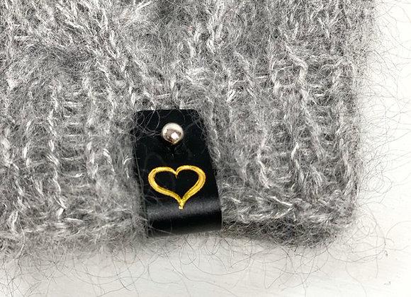 Avtakbar skinnlapp med hjerte - sort/gull