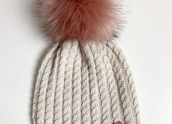 Avtakbar skinnlapp i rosa skinn med sølv hjerte