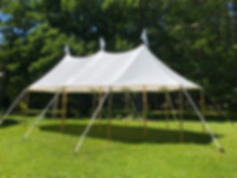 20x37 tidewater sailcloth tent.  commercial tent rental in maine.  perfect for a garden party, bar tent, nautical and rustic events