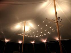 String Lighting Between Center Poles