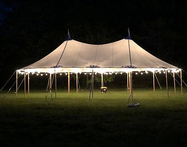 32x50 Fully Lit:8 Strings Canopy Café Lights, 4 Onion Lamps, Perimeter Lights