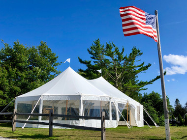 32x50 Tidewater Sailcloth Tent at Bailey's Island Library Hall