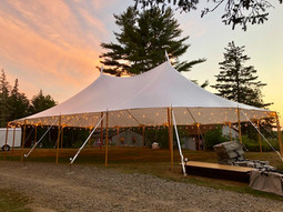 44x63 Tidewater Sailcloth Tent at Dusk