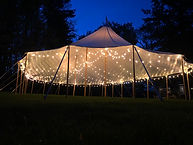 44x83 sailcloth tent fully lit with LED