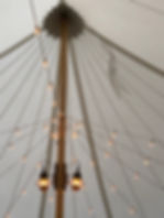 Onion Lamps an Cafe Lights in a sailcloth tent.  See the FLAG?? The opaque tops show shadows