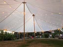 44x63 Tidewater Sailcloth Tent with Cafe Lighting