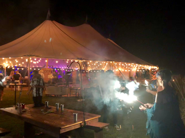 Sparkler Time beside a Tidewater Tent