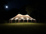 CAN Lighting illuminating a Tidewater Sailcloth Tent by Coastal Maine Canopies