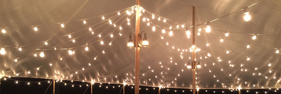 44x63 Fully Lit: 10 Strings Canopy Café Lights, 4 Onion Lamps, Perimeter Lighting