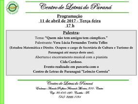 PROGRAMAÇÃO para o dia11/04/2017 no Centro de Letras do Paraná