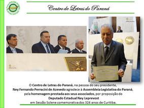 Presidente e Associados do Centro de Letras do Paraná recebem homenagem da Assembleia Legislativa