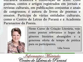 """CURSO DE CRIAÇÃO LITERÁRIA """"Criação de Poemas/Metrificação"""""""