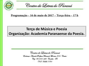 PROGRAMAÇÃO PARA DIA 16/05/2017 - CENTRO DE LETRAS DO PARANÁ