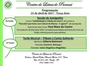 Programação para a próxima terça-feira - 25/04/2017 - Centro de Letras do Paraná