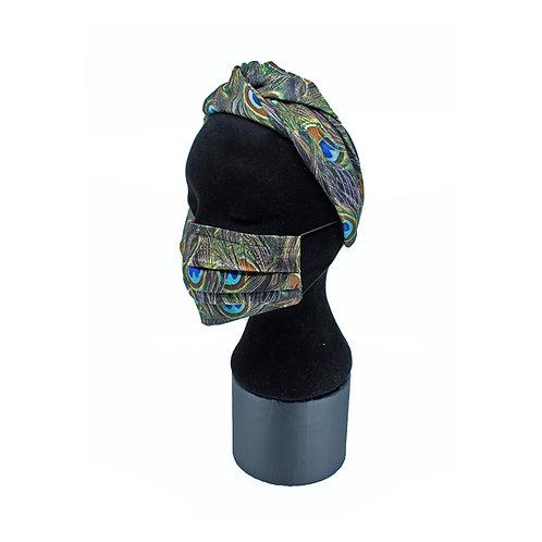 Peacock turband mask set