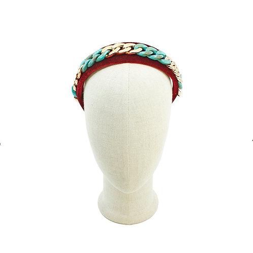 Marianna Headband in chain link velvet
