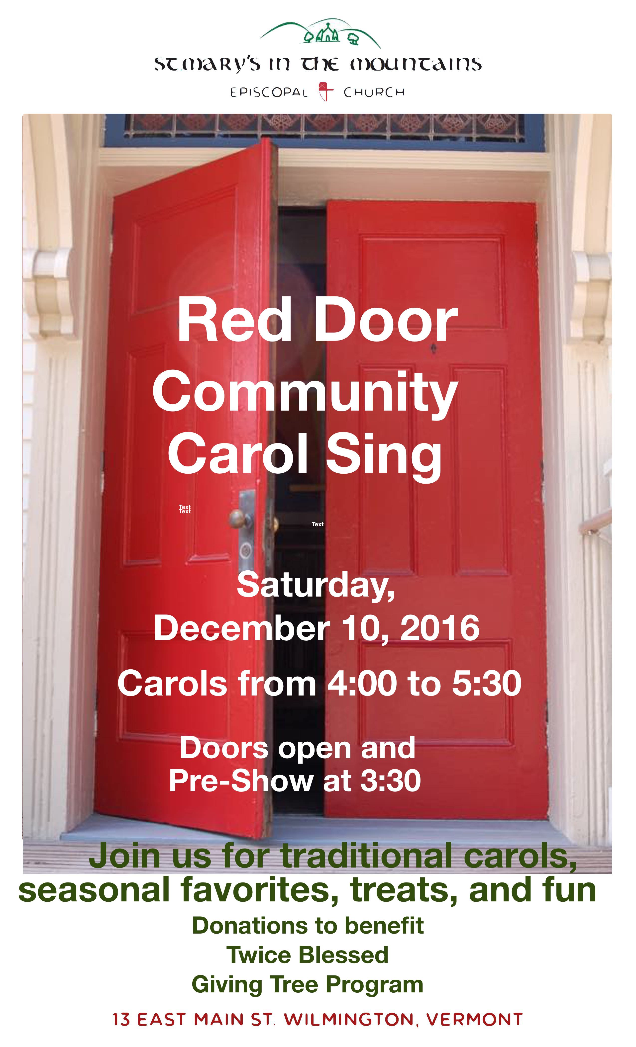 Red Door Carol Sing Poster