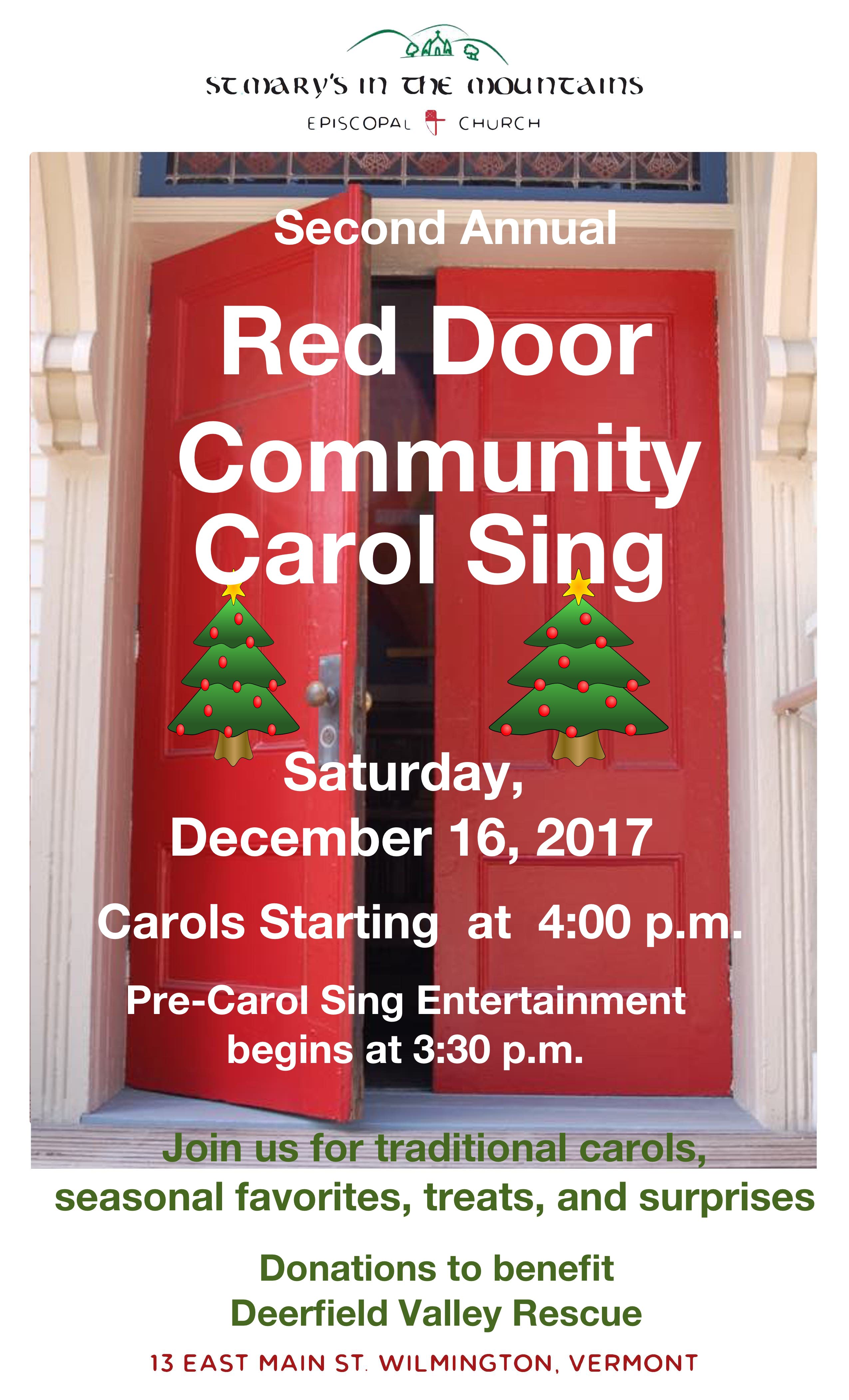Red Door Carol Sing 2017 Poster