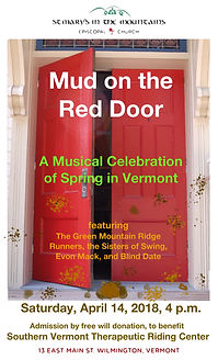 Mud on Red Door, at St. Mary's in the Mountains