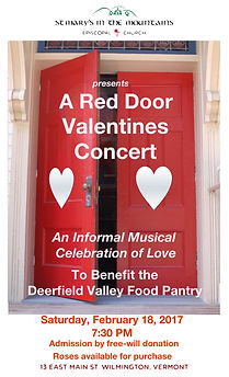 Red Door Valentines, Feb 2017 at St. Mary's in the Mountains