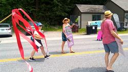 Liz, Sue and Ian Parade float