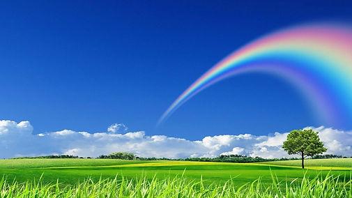Rainbow-in-blue-sky-beautiful-nature-wal