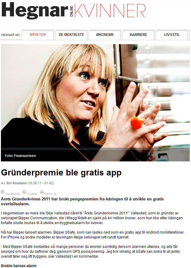 2011.06.22,_Hegnar_Kvinner_-_Gründerpremie_ble_gratis_app,_screenshot
