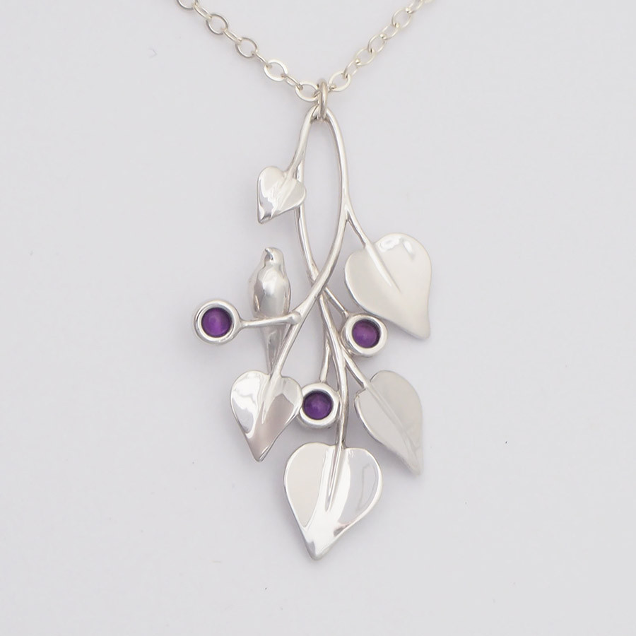 A Dove in Draping Vines, Silver - front