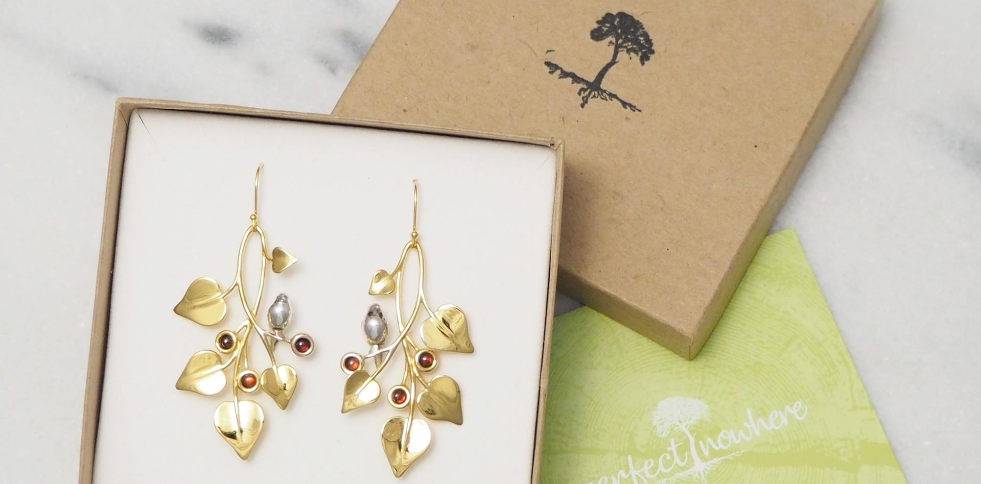 Doves in Draping Vines, Earrings-packaging
