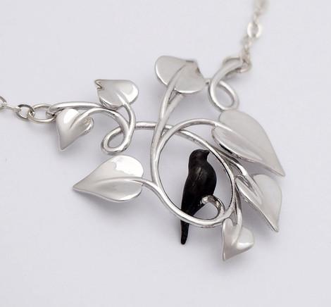 Blackbird Embraced, Silver - closeup