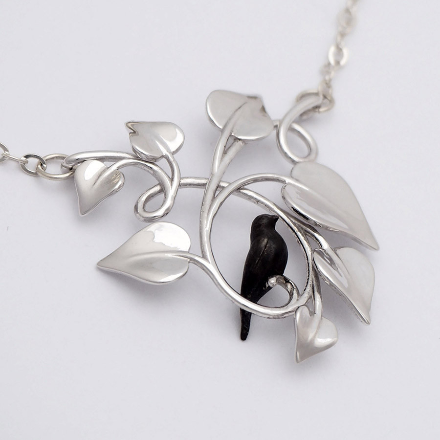 Blackbird Embraced, Silver - closeup