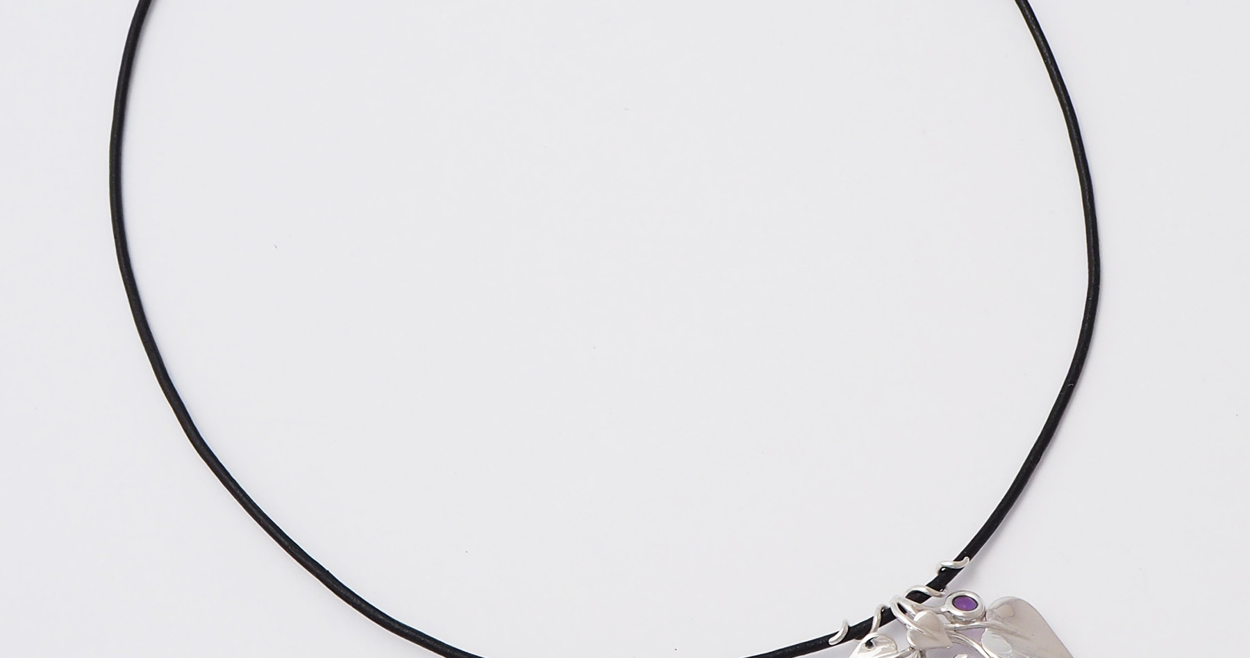 Nestled Bird, Silver - leather cord