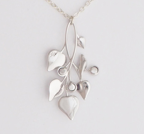 A Dove in Draping Vines, Silver - back