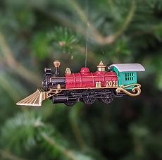 2021- Christmas Train Ornament - in tree