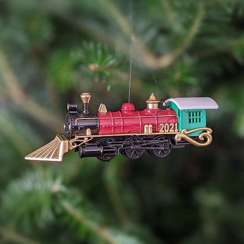2021- Christmas Train Ornament - in tree