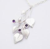 A Dove in Draping Vine, Silver - closeup