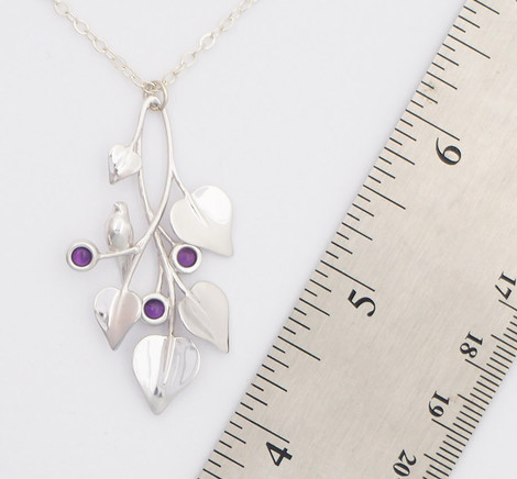 A Dove in Draping Vines, Silver - size