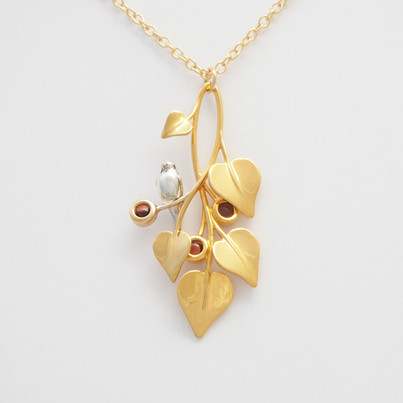 A Dove in Draping Vines Gold Red - front