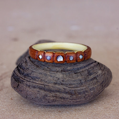 Koa and Holly with Half Carved Band and Mother of Pearl