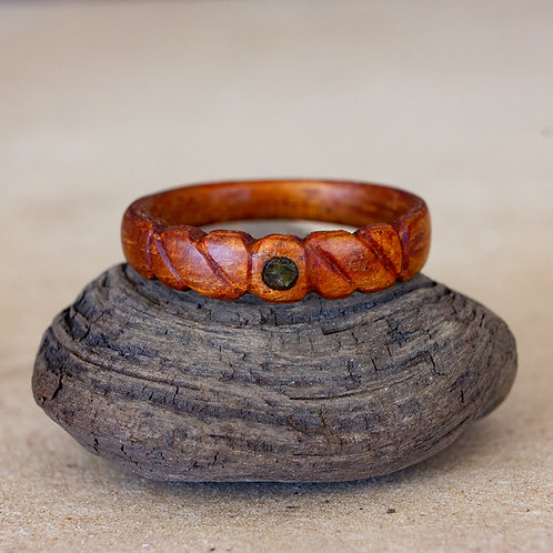 Koa with Carved Twists and Peridot