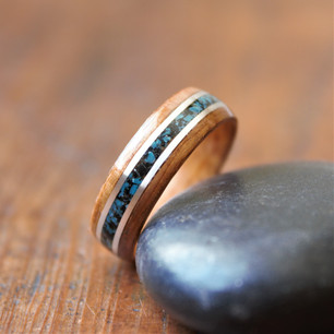 Koa w/ Sterling Silver and Volcanic Rock and Turquoise