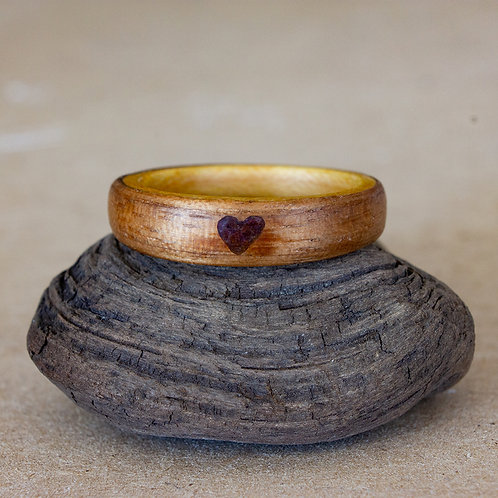 Walnut and Maple with Garnet Heart