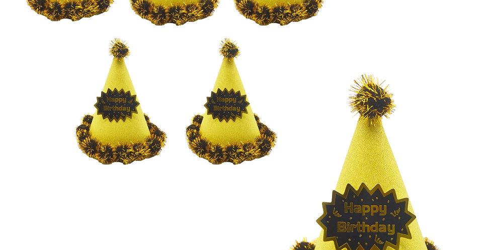 6Lİ SİMLİ Ponponlu Karton Külah Şapka Altın
