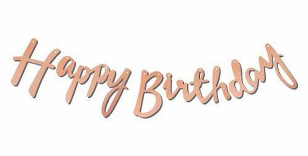 Happy Birthday Rose Gold Kaligrafi Banner 110 cm