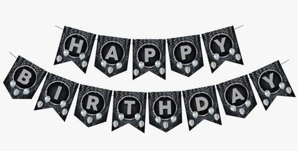 Happy Birthday Yazısı Siyah Üzeri Gümüş Yaldızlı
